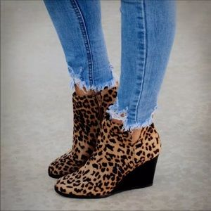 Shoes - On the way! Leopard Wedge Booties